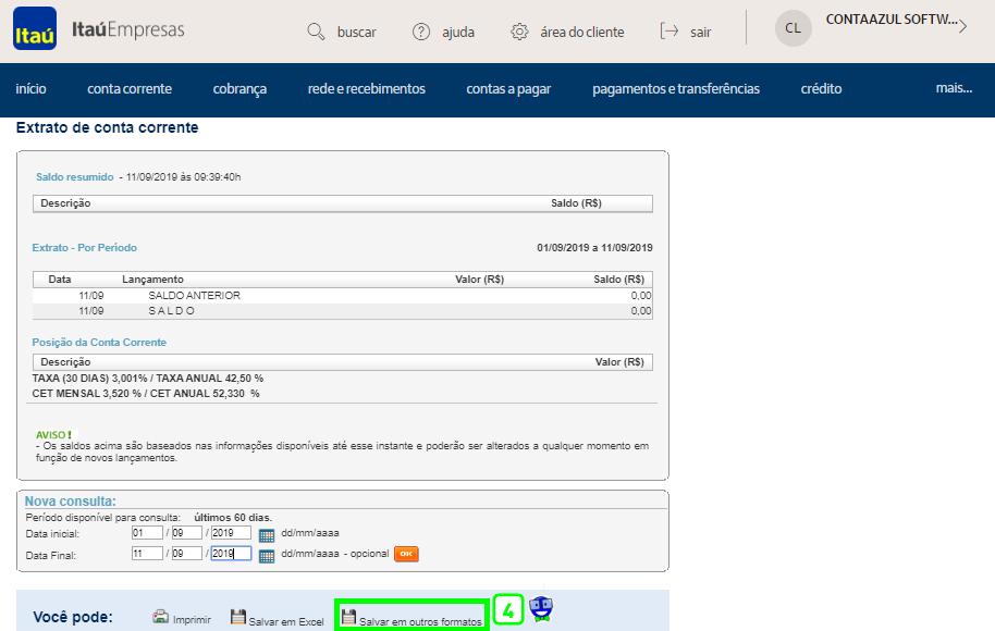 Como exportar o extrato do Itaú em arquivo OFX 3 Como exportar o extrato do Itaú em arquivo OFX
