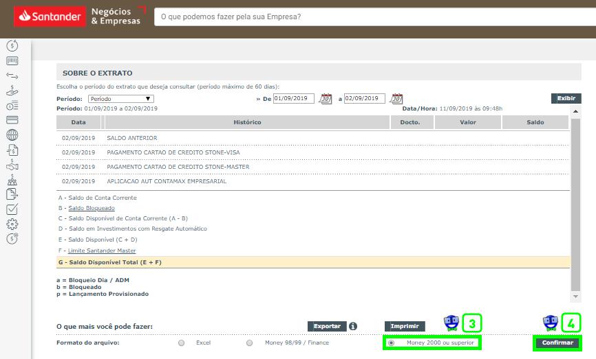 Como exportar o extrato do Santander em arquivo OFX 2 Como exportar o extrato do Santander em arquivo OFX