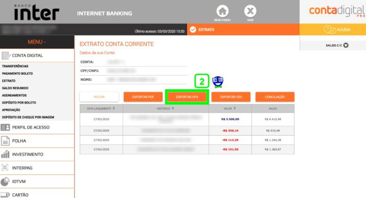 Como exportar o extrato do Banco Inter em formato OFX 2 Como exportar o extrato do Banco Inter em formato OFX