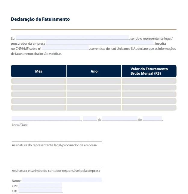 Como emitir uma declaração de faturamento? 1 declaração